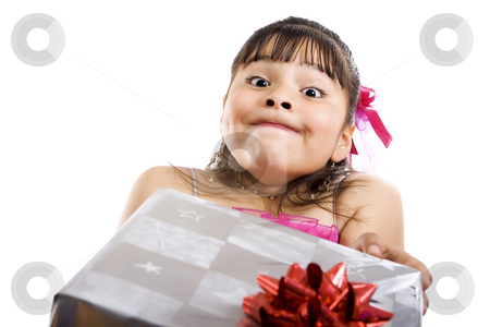 I don't know what it is... stock photo, Studio shot of endearing girl with gift wearing fancy dress - Isolated on white by iodrakon