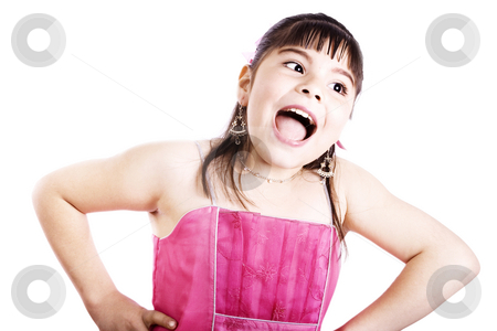 Really?? stock photo, Studio shot of Happy Girl wearing fancy dress - Isolated on white by iodrakon