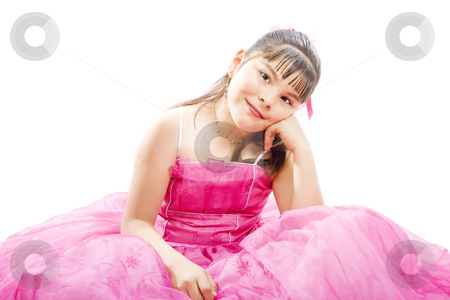 Cute girl stock photo, Studio shot of endearing girl with gift wearing fancy dress - Isolated on white by iodrakon