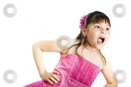 She did what?? stock photo, Studio shot of surprised girl wearing fancy dress - Isolated on white by iodrakon