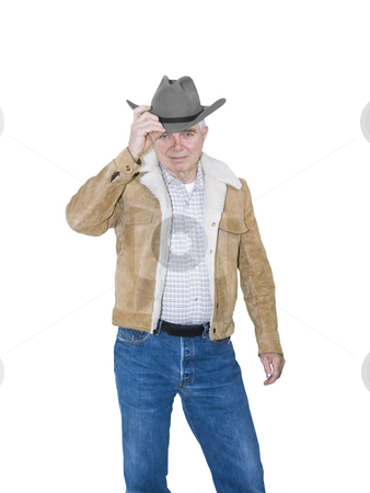 Senior Cowboy Tipping Hat stock photo, Senior Cowboy Tipping Hat on a White Background by John Teeter