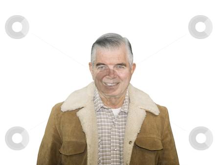 Cowboy Senior Smiling stock photo, Smiling Cowboy Senior on a white background by John Teeter