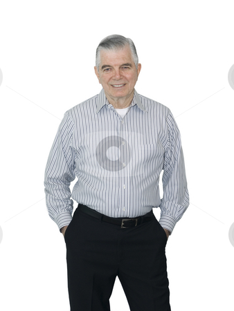 Senior smiling stock photo, Senior smiling on a white background by John Teeter