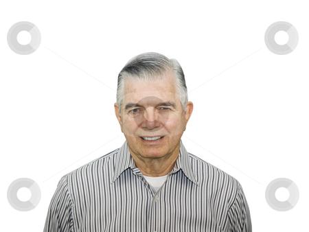 Portrait of happy senior stock photo, Portrait of happy senior citizen on white background by John Teeter