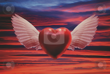 On the Wings of Love stock photo, Red Winged Heart Flying over Sunset Sky by Miguel Dominguez