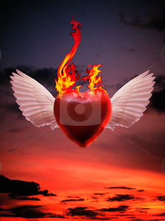 Burning Love stock photo, Red Winged Heart on Fire flying over Sunset Sky by Miguel Dominguez