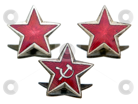 Communist star stock photo, Three Communist star isolated on a white background. by Sinisa Botas