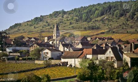 Autumn color cloaks St Aubin, Burgundy stock photo, Village, vinyards, St. Aubin, Burgundy, France by GB Tittle