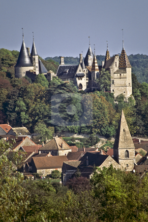 The 13th century chateau and village of La Rochepot, Burgundy stock photo, Chateau and village, La Rochepot, Burgundy by GB Tittle