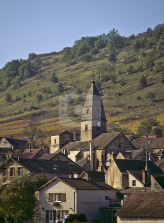 The church and village of St Aubin, Cote de Beaune, Bugundy stock photo, Church steeple dominates the village of St Aubin, Burgundy by GB Tittle