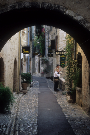 Pedestrian street in the artist colony of St Paul de Vence, Cote 'Azur stock photo, Archway and street, St Paul de Vence, above Riviera, Alpes-Maritimes, France by GB Tittle