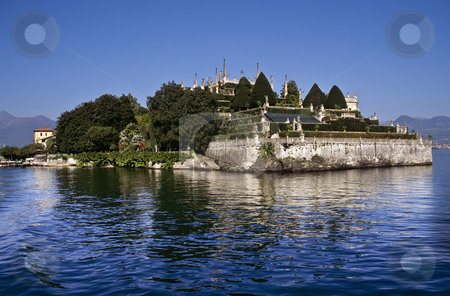 The ducal palace gardens on Isola Bella, Lake Maggiore stock photo, Ducal palace terraced gardens, Isola Bella, Lake Maggiore, Italy by GB Tittle