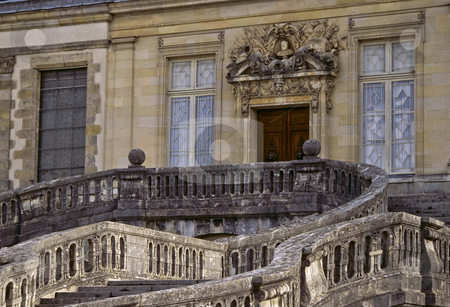 The grand entrance and serpentine staircase of Chateau Fontainebleau stock photo, Main entrance, Serpentine staircase, Chateau Fontainebleau, Ile de France by GB Tittle