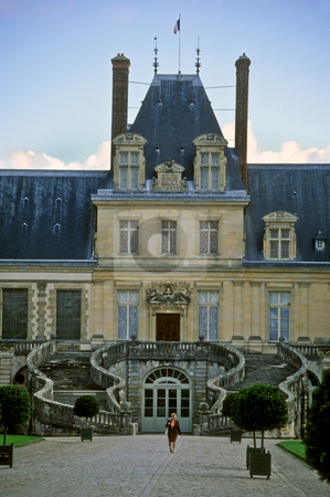 Grand entrance of Chateau Fontainebleau stock photo, Grand Entrance, Chateau Fontainebleau, Ile de France by GB Tittle