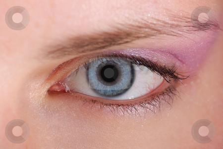 Macro eye stock photo, Detail of blue eye, pupilla, eyebrow and eyeshadows by Tom P.