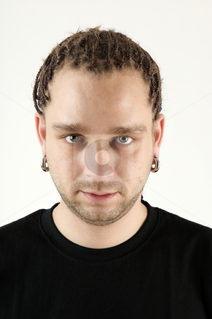 Boy with braids stock photo, Young man with braids portrait isolated on white background by Tom P.