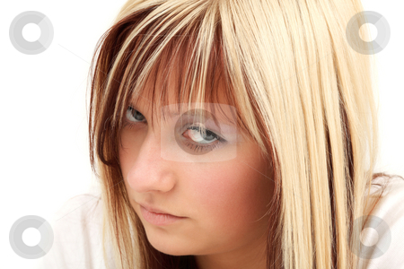Deep look stock photo, Young teenage girl is looking deeply into camera by Tom P.