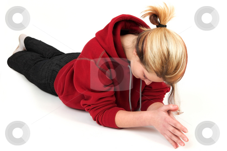 Free time stock photo, Cute girl in red shirt has a rest between shoots by Tom P.
