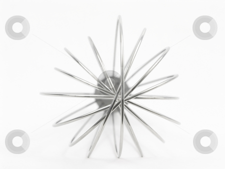 Metal Wisk stock photo, Close up of a metal wisk on a white background by John Teeter