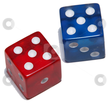 Red  stock photo, A color image of a blue and a red dice isolated on a white background. by Michael Rice
