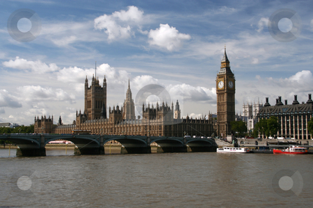 Houzses of Parliament & Big Ben stock photo, London, UK. Big Ben is actually the name of the bell inside the clock tower but everyone just calls the tower Big Ben by Helen Shorey