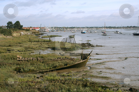 Derelict View stock photo, Some old derelict barges at Heybridge Basin on the Blackwater Estuary, Essex, UK by Helen Shorey