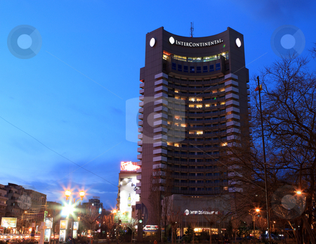 Hotel Intercontinental Bucharest stock photo, Hotel Intercontinental Bucharest - a shot at the blue hour by Mihai Zaharia