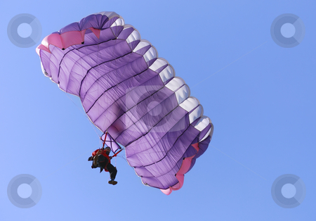 Purple parachute stock photo, A purple parachute on a bright sunny day. by Ivan Paunovic
