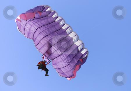 Purple parachute stock photo, A purple parachute on a bright sunny day. by Ivan Paunovic