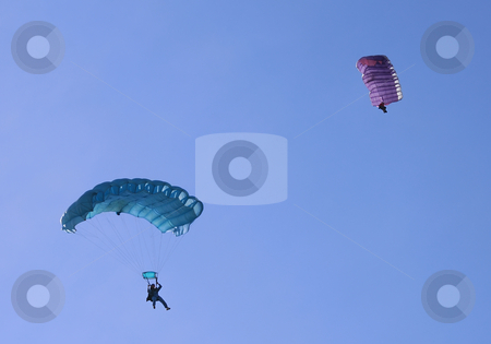 Two parachutes stock photo, Two parachutes on a bright sunny day. by Ivan Paunovic