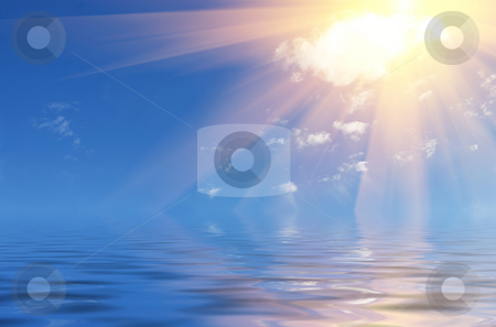 Sun over sea stock photo, Surreal seascape with Sun over sea. by Ivan Paunovic