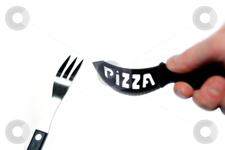 Pizza knife and spoon stock photo, Pizza knife and spoon isolated on a white by Alexey Rumyantsev