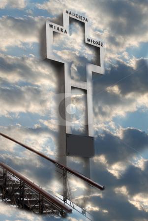 A cross in the sky stock photo, Stear way to heaven by Alexey Rumyantsev
