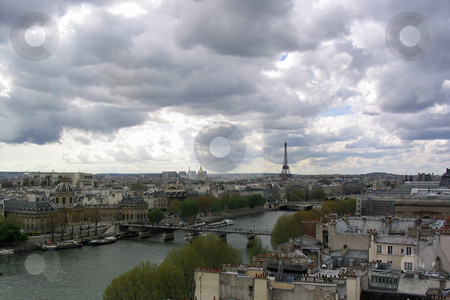 Paris stock photo, View of Eiffel tower and Seine river by Jaime Pharr