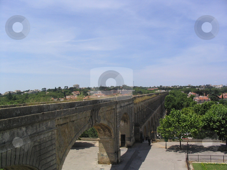 Roman aqueduct stock photo, Roman aqueduct in Montpellier France by Jaime Pharr