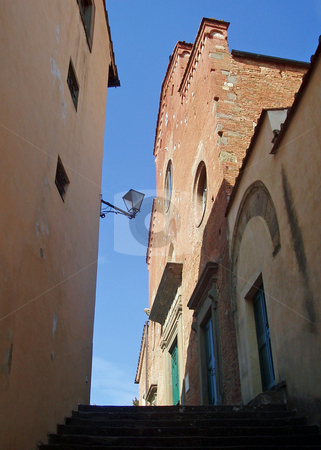 Steps and building in Tuscany Italy  stock photo, View up steps and building with lamp in Tuscany Italy by Jaime Pharr