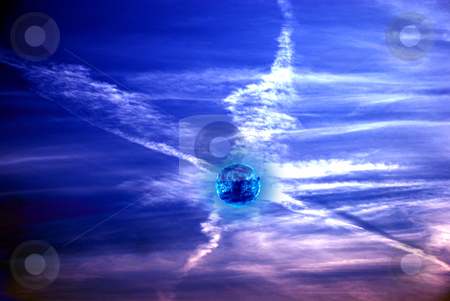 X- Sky stock photo, Sky and clouds X form with planet by Alexey Rumyantsev
