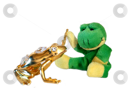 Fun frog series stock photo, Fun frog with it's gold friend isolated on a white background by Alexey Rumyantsev