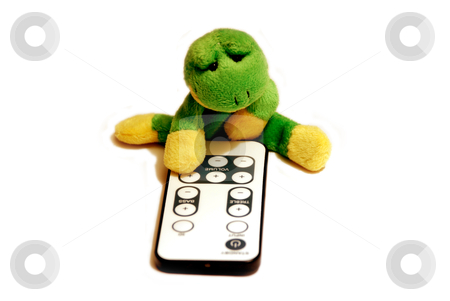 Fun frog series stock photo, Fun frog with remote control isolated on a white background by Alexey Rumyantsev
