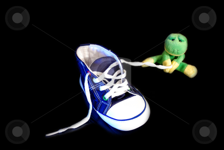 Fun frog series stock photo, Fun frog with shoe isolated on a black background by Alexey Rumyantsev