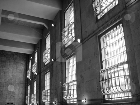 Alcatraz windows stock photo, Barred windows in Alcatraz prison by Jaime Pharr