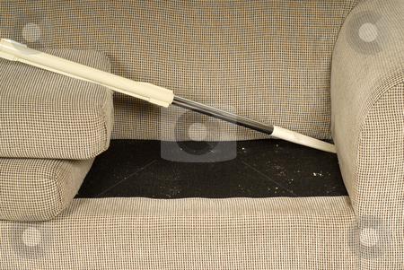 Vacuuming The Couch stock photo, Someome using a vacuum cleaner to suck food out of the couch by Richard Nelson