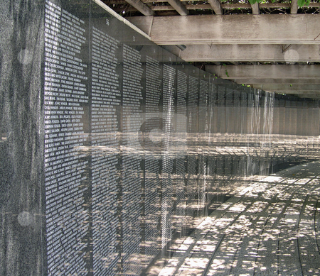 Miami Beach Holocaust memorial stock photo, Reflective wall with names and light in the Miami Beach Holocaust memorial, by Jaime Pharr