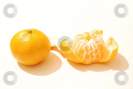 Pare of mandarines stock photo, Pare of mandarines isolated on a white by Alexey Rumyantsev