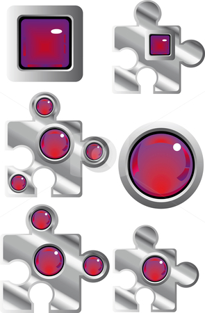 Collection of fancy puzzle web buttons stock vector clipart, Collection of fancy puzzle glass look web buttons in red and purple by Karin Claus