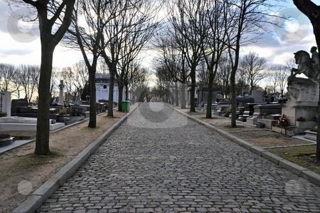 Cobblestone road in Pere Lachaise stock photo, Cobblestone road in Pere Lachaise cemetary, Paris by Jaime Pharr