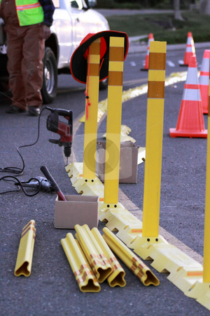Road Construction stock photo, Traffic and Road Construction site with cones, barricaded and signs. by Richard Clack