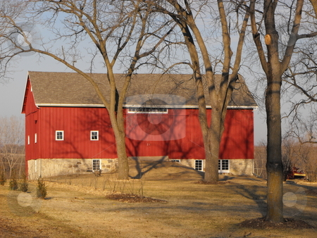 The Red Barn stock photo, Urban sprawl is encroaching on this scenic red barn on the edge of Cedar Falls, Iowa but it still looks ready for use 100 years after construction. by Dennis Thomsen