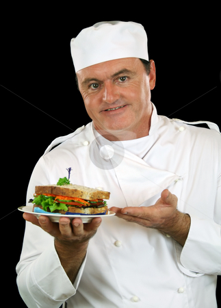 Sandwich Chef stock photo, Chef presents healthy salad sandwich ready for serving. by Brett Mulcahy