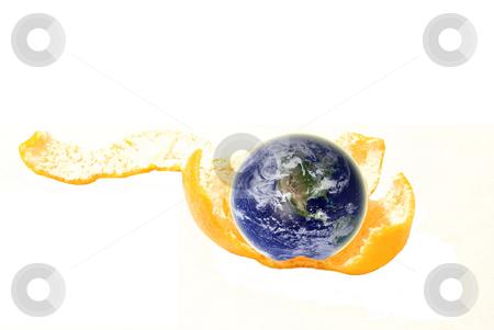 Earth inside stock photo, Earth inside orange on a white by Alexey Rumyantsev